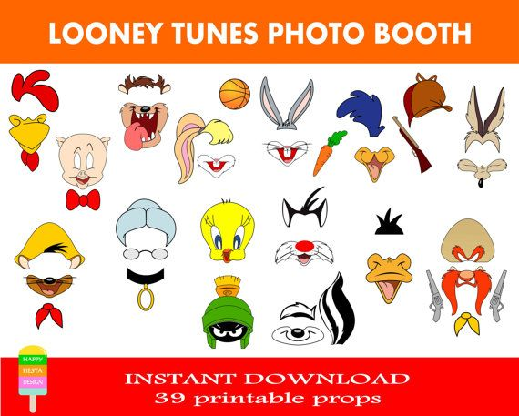 Looney Tunes Photo Booth Props–39 Pieces-Looney Tunes Birthday-Bugs Bunny, Tweety, Porkey Pig, Sylvester,Daffy Duck,Granny-Instant Download