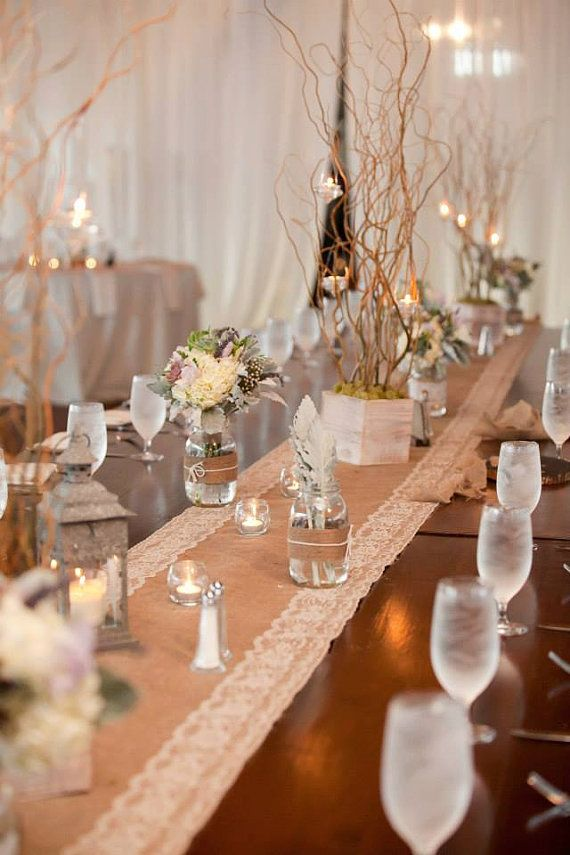 NOW ON SALE - Wedding Table Decor - Burlap and Lace Table Runners with White Lace