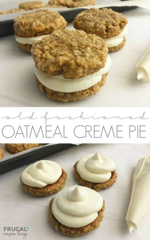 Homemade Oatmeal Creme Pies, a copycat Little Debbie recipe on Frugal Coupon Living. Two cookies baked with whole grain oats and molasses, then sandwiched with creme.