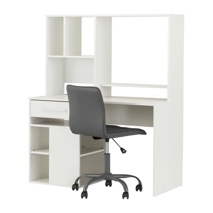 south shore annexe computer desk with hutch and chair set finish pure