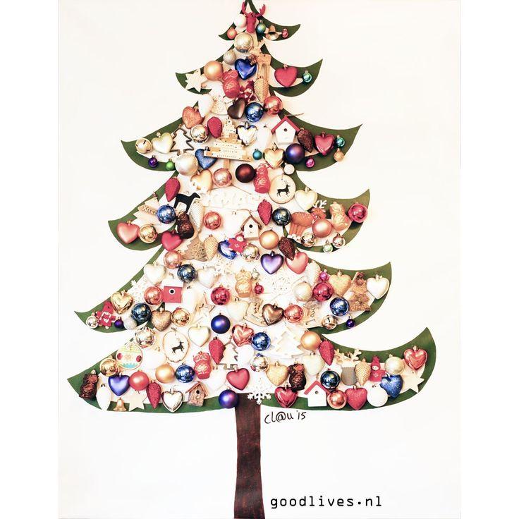Alternatieve kerstboom op doek DIY. #christmas #kerst