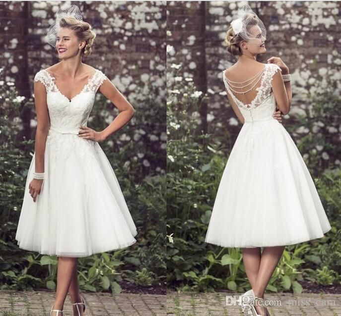 Simple Short Vintage Wedding Dress Cheap Bridal Gown with Lace Tea Length