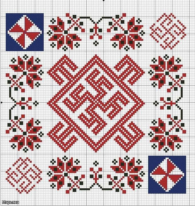 оберег для мальчика: в центре-цветок папоротника(раскрывает духовные силы) огненный символ