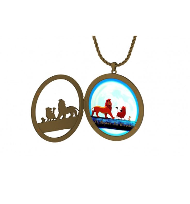 #Gold Plated Hakuna Matata Scene Lion King Locket Style #Necklace from #Disney Couture xoxo