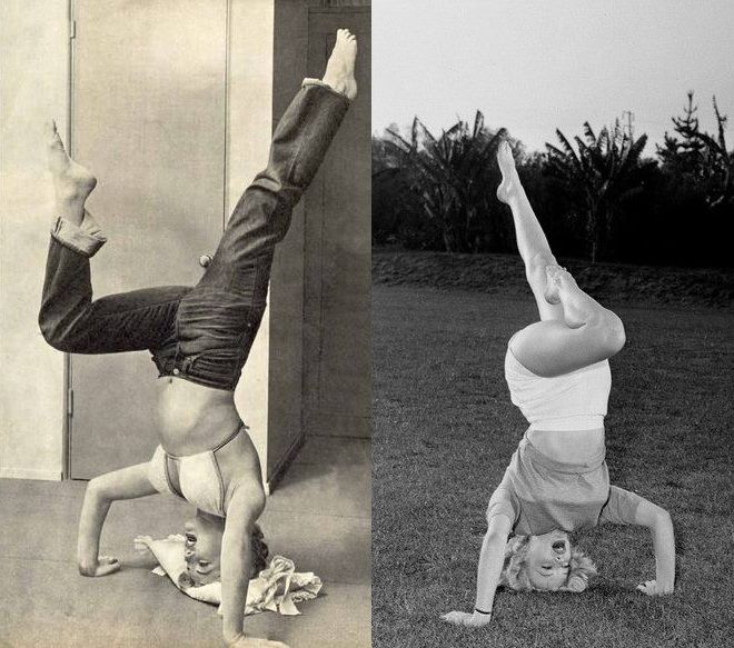 """Today I learned that Marilyn did yoga. She credited it with toning and shaping her legs. Marilyn doing a headstand."""