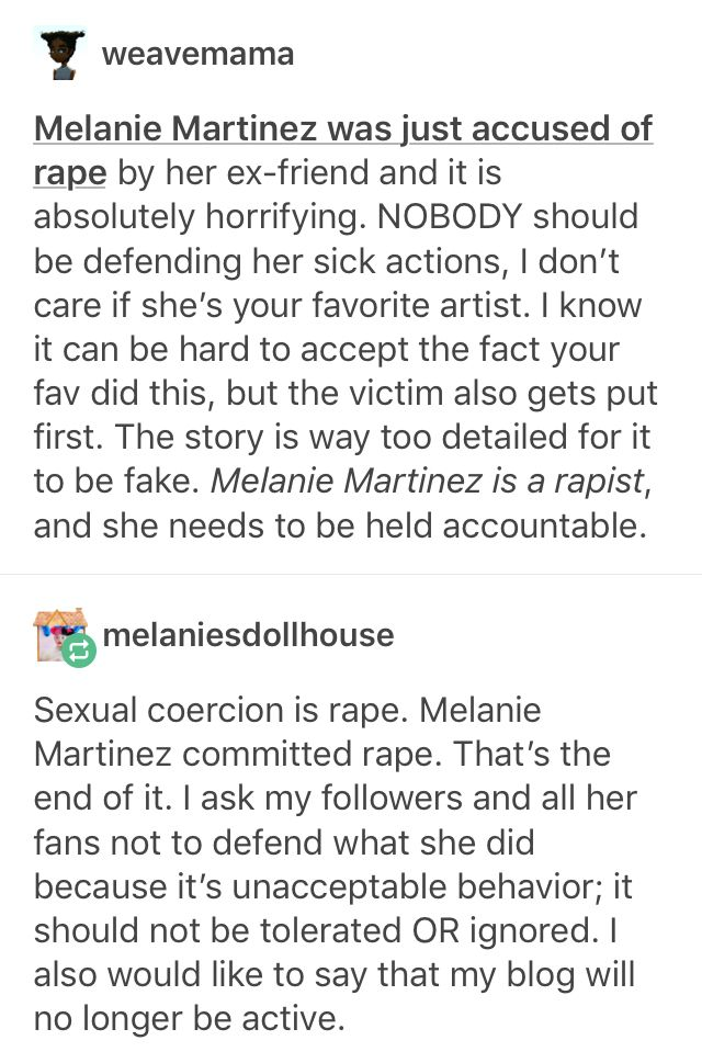 Side note: she admitted to it, but claimed that because 'she didn't say no' that it wasn't rape. Rape isn't determined by the absence of a no, but the presence of a yes.