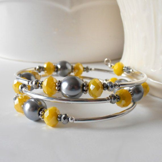 Gray and Yellow Bridesmaid Jewelry in Silver Memory Wire Bracelet Pearl and Crystal Bracelet Unique Wedding Jewelry Bridesmaid Sets on Etsy, $25.00