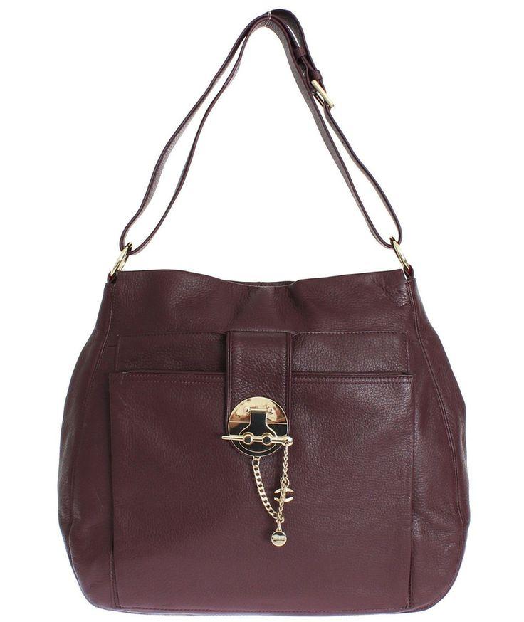 JUST CAVALLI Purple Shoulder Bag Leather Handbag #cf-color-purple #cf-size-medium-large #gold