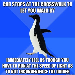 Socially Awkward Penguin (As a pedestrian, I actually do this but when I'm a driver I'm don't care how long they take)