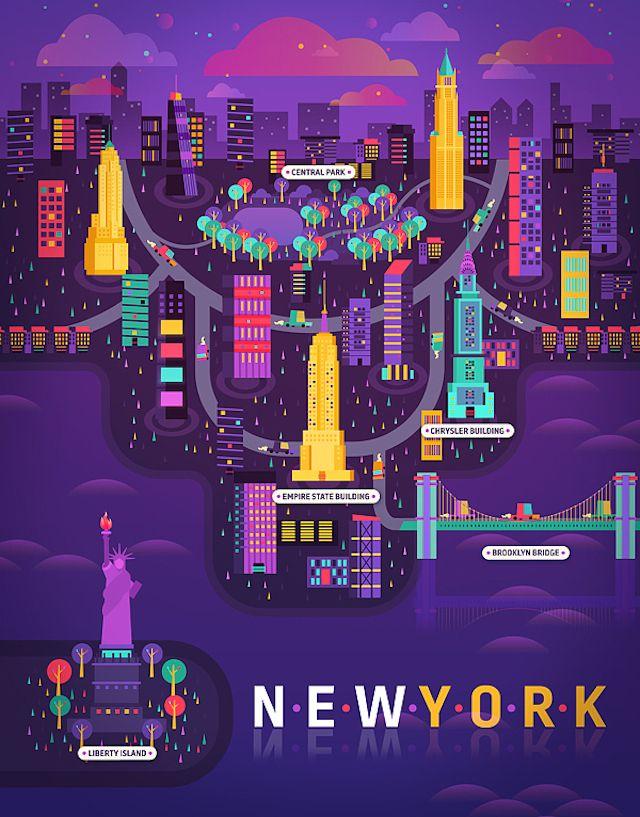 Pour la section « Cosmopolis » du magazine Aire, l'illustrateur mexicain Aldo Crusher a fait de très belles illustrations colorées de différentes villes telles que Cape Town, New York, Madrid, Shanghai et Buenos Aires, accompagnées de détails. Une belle série à découvrir dans la suite de l'article.