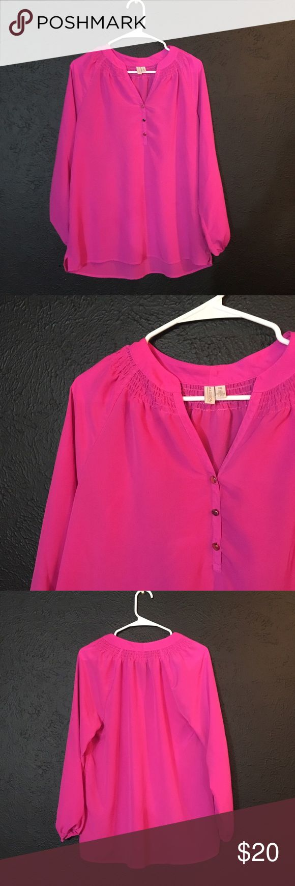 Hot Pink Long Sleeve Chiffon Top Long sleeve, hot pink chiffon top. Very comfortable and cute. Lightly worn. A little big on me is all. Madison Tops Blouses
