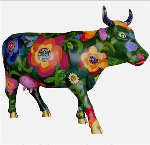 CowParade Kansas City cow detail - La Vache Effleure