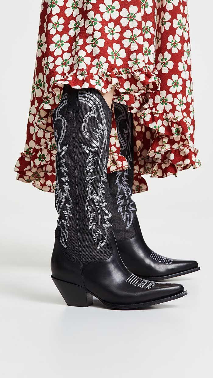 R13 Mid Straight Cowboy Boots Black