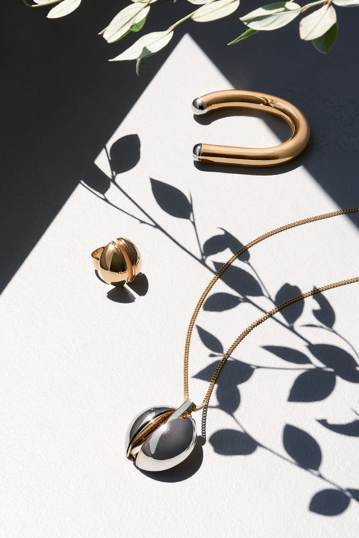 "The Chloé Spring 2015 Accessories Collection – ""Ellie"" brass cuff, ""Ellie"" brass oversized ring, ""Ellie"" brass oversized pendant necklace"