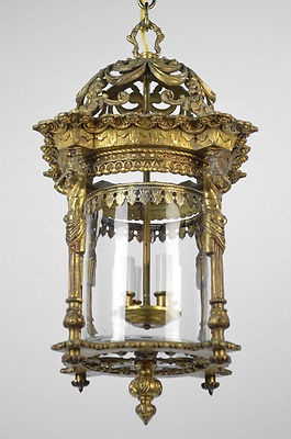 Large Figural Bronze Gold Gilded Gilt Hanging Lantern Chandelier Glass Red Ebay