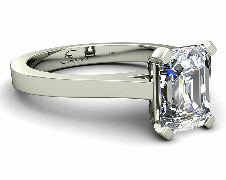 Emerald cut diamond solitaire engagement ring Melbourne by Seferian  Jewellers www.seferiandiamonds.com.