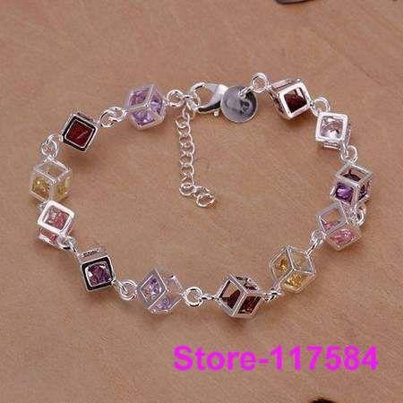 H220 925 pulseira de prata esterlina 2013 pulseiras jóias moda para as mulheres a cor de pedra de xadrez/amna jdua