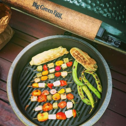 Having more fun with my #BigGreenEgg! Barbecuing vegetarian kebabs - nectarines, tomatoes , tofu, radishes, halloumi, jalapeños; broad beans and corn  #bbq #vegetarian #kebab #summer #food #BigGreenEgg #igfood via Instagram http://ift.tt/1Iue2kD