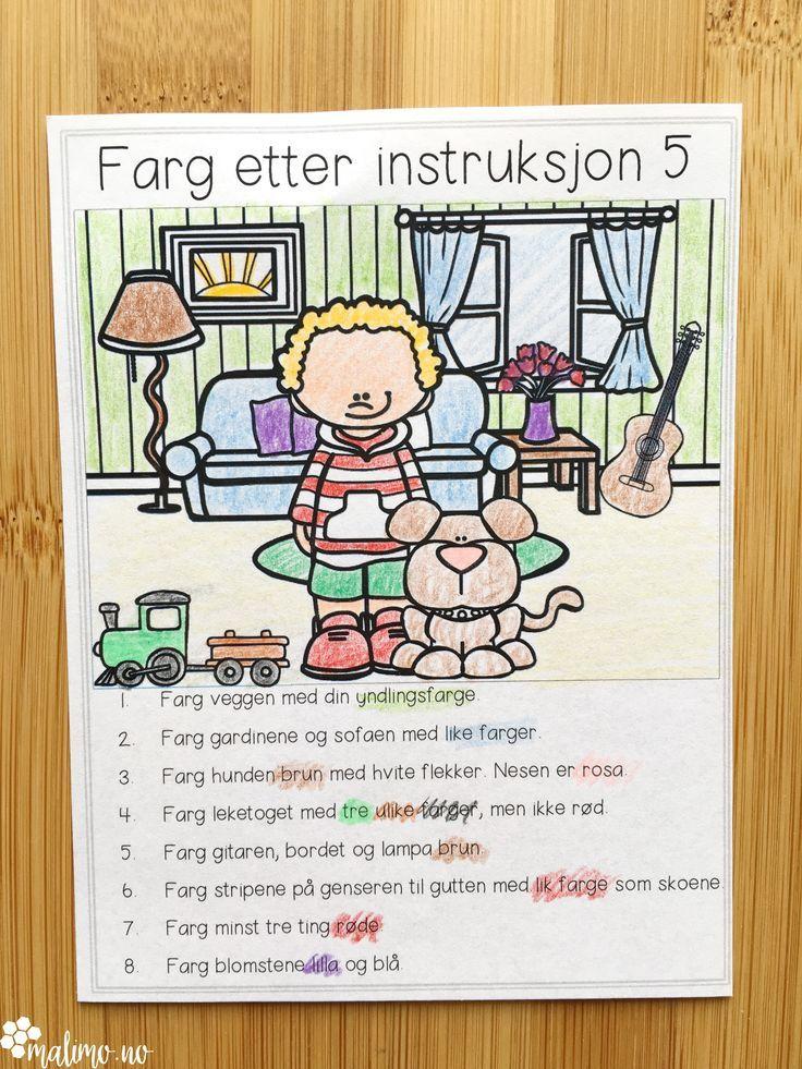 Fargelegging etter ulike instruksjoner. Oppskrift med setninger, trill terning og fargelegg etter høyfrekvente ord.