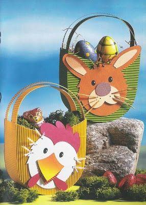 bunny & chicken basket for Easter eggs - spring/Easter paper craft pattern