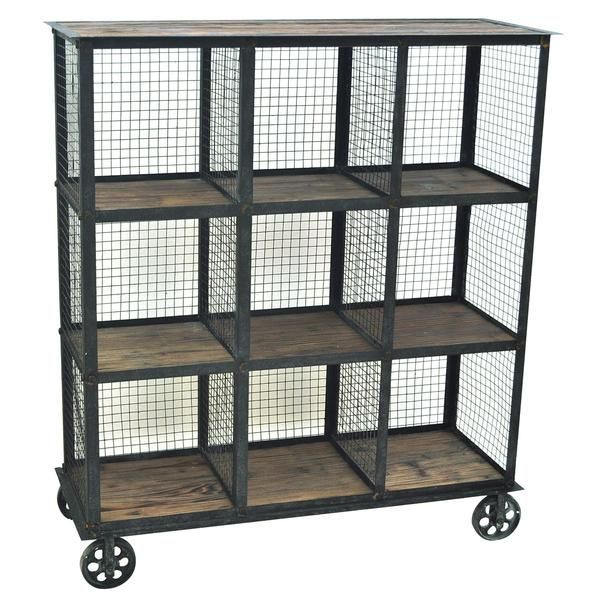 Industrial Metal and Wood Bookcase - The Rustic Furniture Store