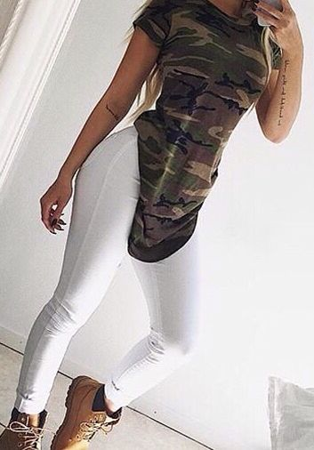 Camo camouflage t shirt white jeans and timberlands can't go wrong