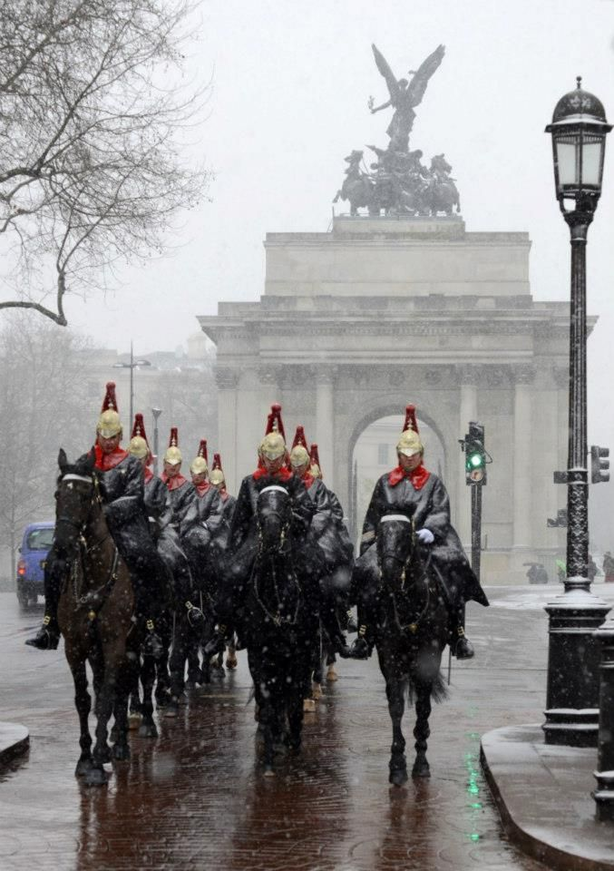 The Blues and Royals crossing over Hyde Park Corner in London. Wellington Arch behind them. For comprehensive news coverage of global business travel, meetings & events visit: http://www.odysseymediagroup.com or follow us on Twitter at: https://twitter.com/OdysseyMG