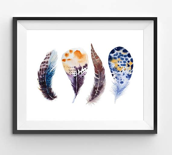 Set of Colorful Feathers Print Native Indian Prints