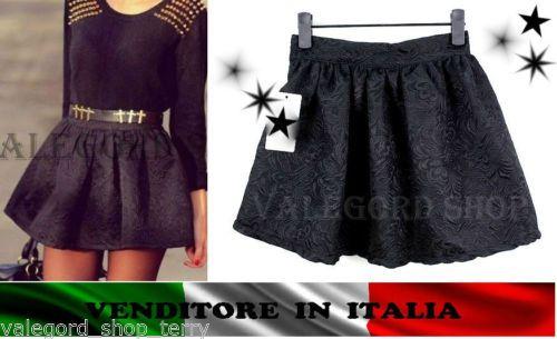 Mini-gonna-nera-QUALITA-stampa-rilievo-damascata-tulipano-campana-elegante-skirt