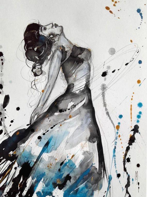 Dancer Woman Painting Dancer Watercolor Body par CelineArtGalerie
