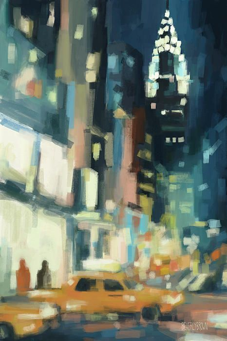 View Across 42nd Street New York City  - Cityscape at Night - Digital Painting by Beverly Brown | Fine art prints for sale online from $30 www.beverlybrown.com