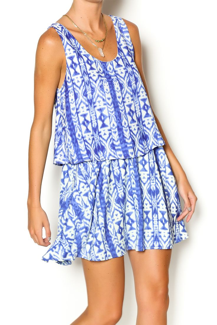 Blue tribal print dress has a frill on the top and is sleeveless. This dress is ideal for a warm day. Pair this dress with a fedora and shades. Blue Tribal Dress by Honey Punch. Clothing - Dresses - Casual Clothing - Dresses - Mini Clothing - Dresses - Printed New Jersey