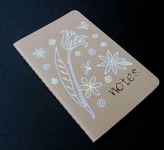 Botanical Doodle Painted Notebook  Ink by KelliMcNicholsArt