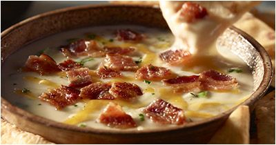 LongHorn Steakhouse's White Cheddar and Bacon Dip- SERVINGS: 4 1 cup Vermont white cheddar, shredded  1/2 cup cheddar jack cheese, shredded  8 oz. cream cheese, softened  8 slices bacon  2 tablespoons of green onions, chopped  1 tablespoon of fresh parsley, chopped Flatbread or crackers for dipping