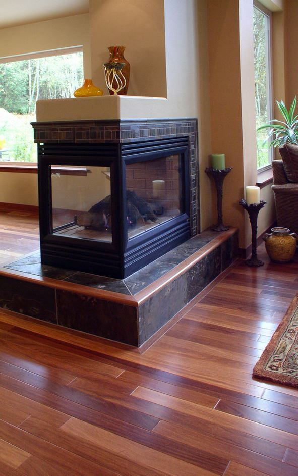 A Transitional Peninsula Fireplace Design From Interior Dimensions Features A Tile Hearth Tile