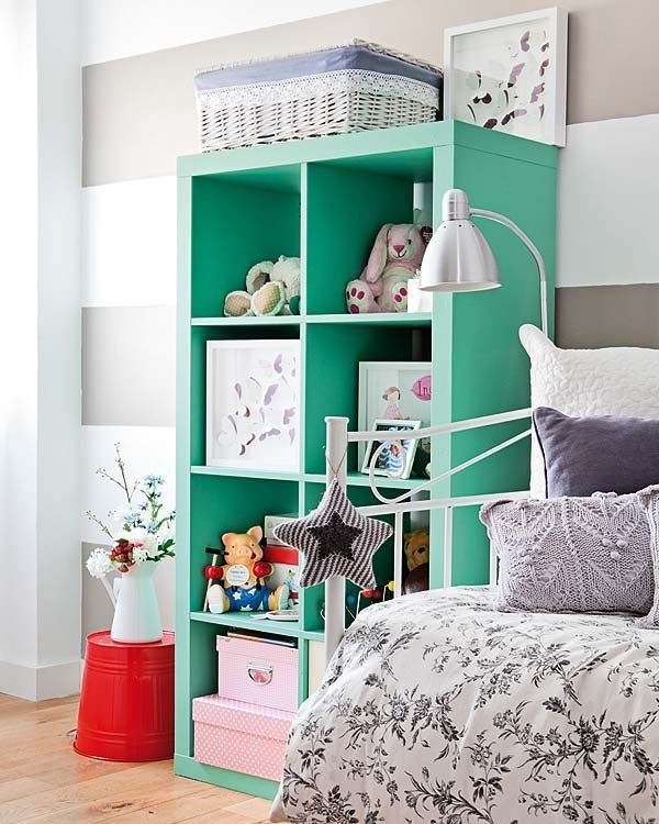 love the grey and white stripped walls with the pop of seafoam color