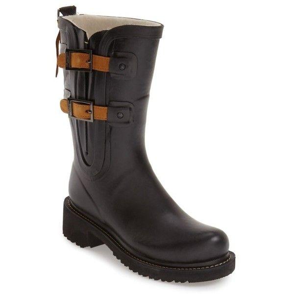 Women's Ilse Jacobsen Waterproof Buckle Detail Snow/rain Boot (15.770 RUB) ❤ liked on Polyvore featuring shoes, boots, black, black buckle boots, black waterproof boots, black boots, black wellington boots and rain boots
