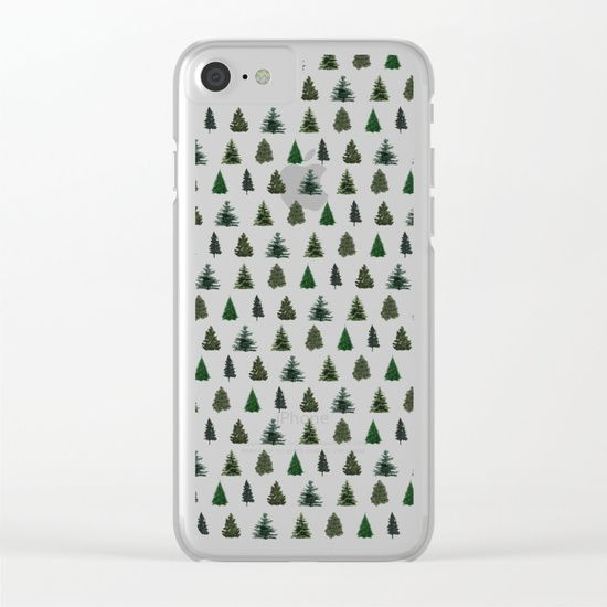 Pine Tree Pattern Clear iPhone Case