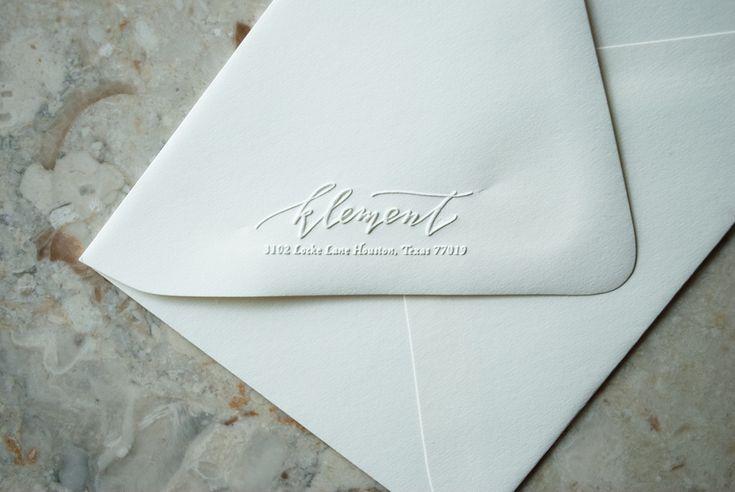 embossed calligraphy return address