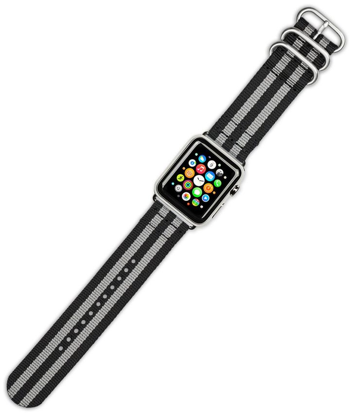 Debeer Replacement Watch Band - Military RAF Style Ballistic Nylon 2-Piece - Black with Grey Stripes - Fits 38mm Apple Watch [Silver Adapters]. deBeer brand replacement watch strap for 38mm Apple Watch. Complete with polished silver or black adapters installed on strap. Genuine Ballistic Nylon. Great way to customize your Apple Watch for different occasions. Choose polished silver or polished black adapters.