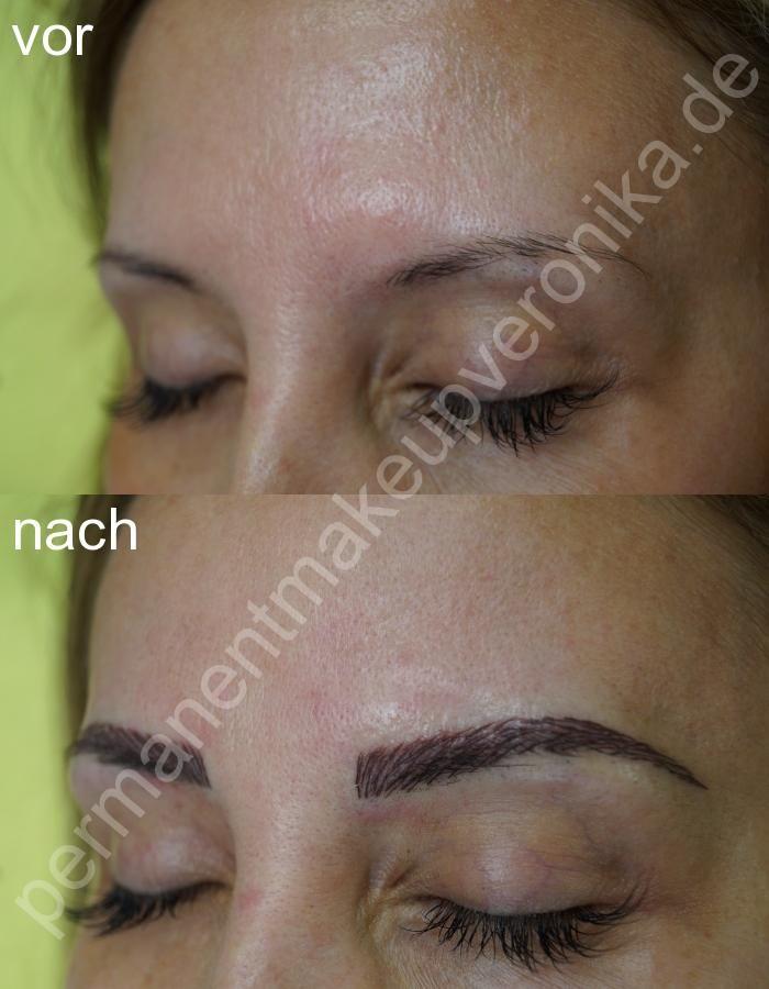 Professionelle, schmerzfreie Tätowierung der Augenbrauen-Härchenlinien zum besten Preis.