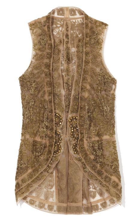 Vera Wang Embroidered Lace Cut Away Vest  Kaya kebaya