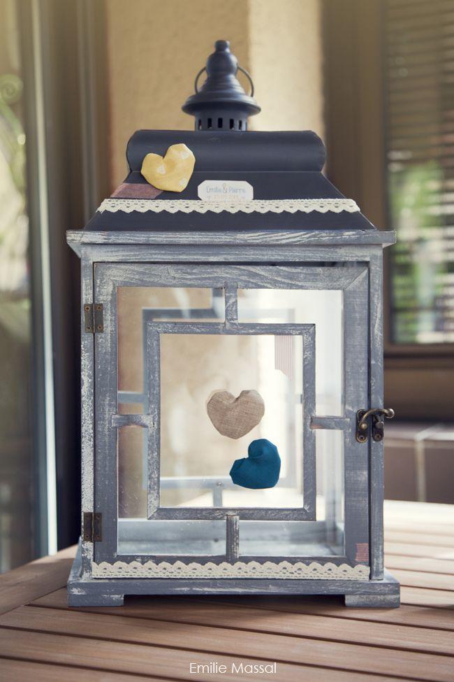"""""""Urne de mariage (lanterne en bois Casa) customisée par mes ptits doigs et des piles d'enveloppes et de cartes pour que les gens nous laissent des petits mots (ça a fait un tabac)"""""""