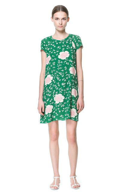 Zara Green and Pink Floral Dress