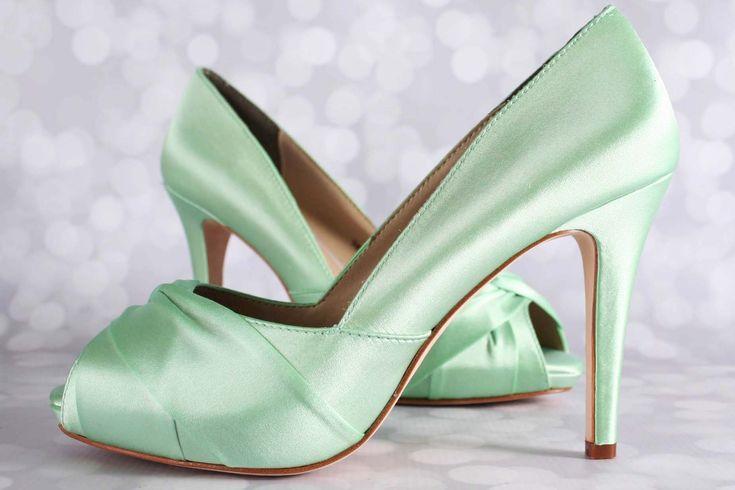 Mint Green Wedding Shoes Platform Peep Toe
