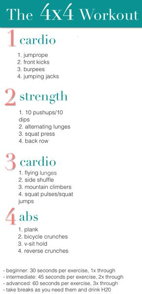 4X4 cardio workout... I know I pin a lot of these, but I am starting them before boot camp so I don't DIE.