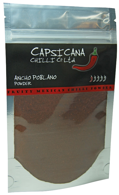 The deliciousness of Ancho Poblano chillies in an easy to use powder form. Easy to add to soups, sauces and anything else. Made from 100% Mexican grown Ancho Poblano chillies