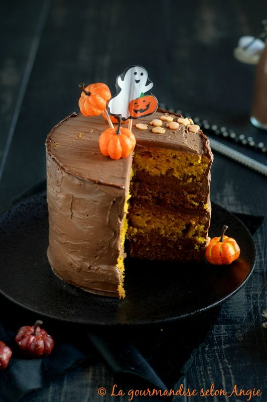 layer cake potiron mousse chocolat - halloween vegan 2