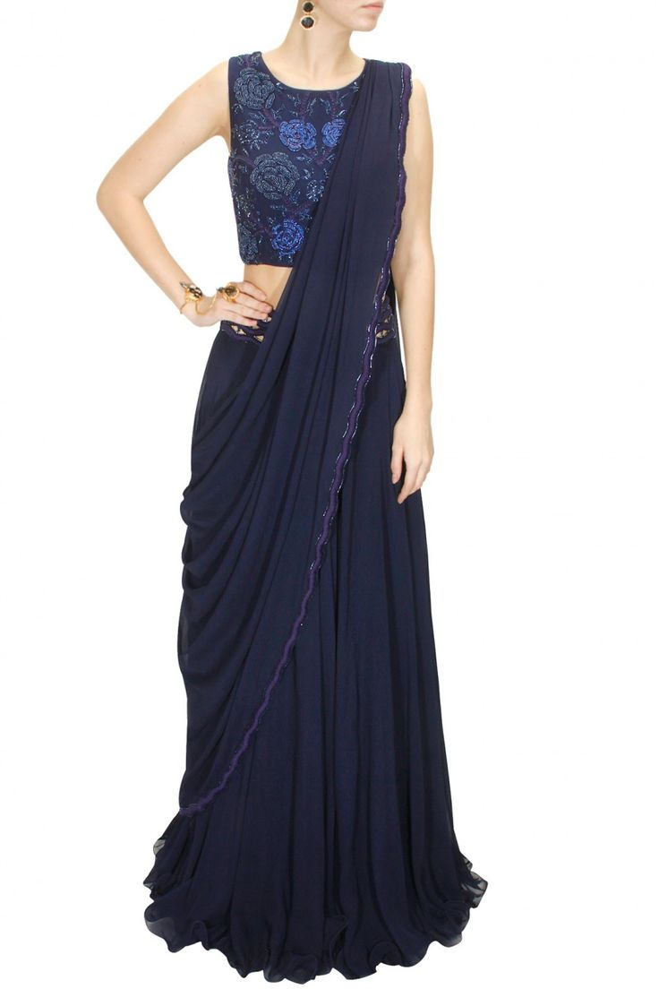 Navy blue floral embroidered draped lehenga set available only at Pernia's Pop-Up Shop.