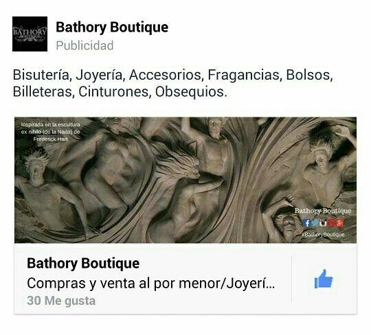 Si te gusta nuestra página de #Facebook no olvides dejarnos tu opinión y compartirla con tus amigos.@BathoryBoutiqueCo #BathoryBoutique